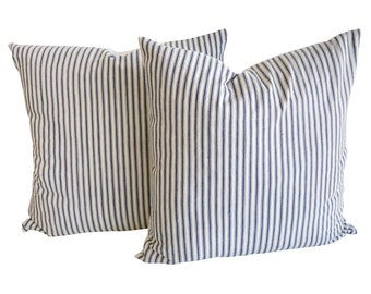 Blue ticking pillow covers