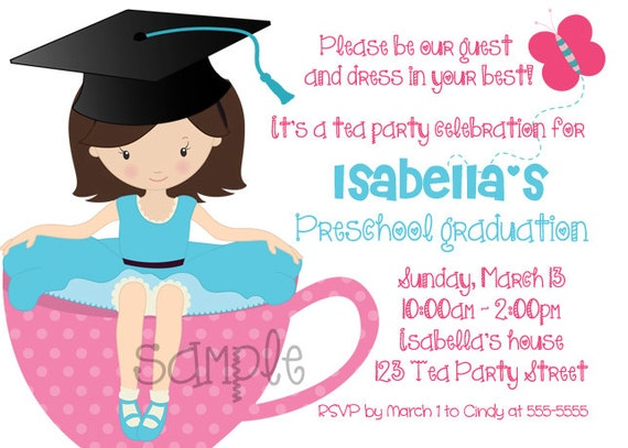 Preschool Kindergarten Graduation Tea on High School Graduation Invitations Printable