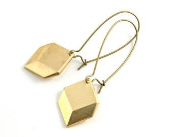 Gold Geometric Earrings, Pyramid Dangle Earrings, Modern Drop Earrings, Long Earring, Gifts under 20