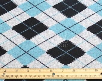 Teal Black Argyle Print Jersey Knit Fabric - 1 Yard Style 6455