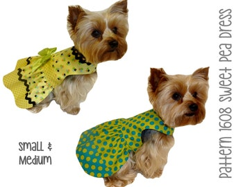 Sweet Pea Dog Dress Pattern 1608 * Small & Medium * Dog Clothes Pattern * Dog Apparel * Designer Dog Dress * Dog Harness Dress * Pet Dress