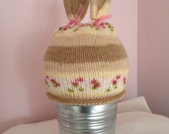Bunny rabbit beanie hat with ears - hand-knitted fairisle - pink and brown