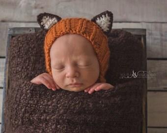 Knit Fox Bonnet - Made to Order - Newborn Prop - Round Back Bonnet