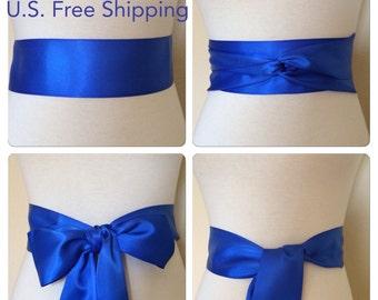 Royal blue sash. 1.5, 2.25, 2.5 or 3 inch wide Ribbon sash. Double faced satin sash. Satin Bridal sash. blue sash. Bridesmaid satin sash