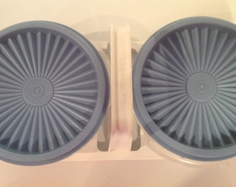 Vintage Tupperware Bowls with Carrier/ Tupperware Bowls with Blue Lids and Carrier