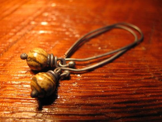 Picture Jasper and Sterling Silver Earrings Handmade/Hand Forged  Dangle Earrings-ToniRaeCreations
