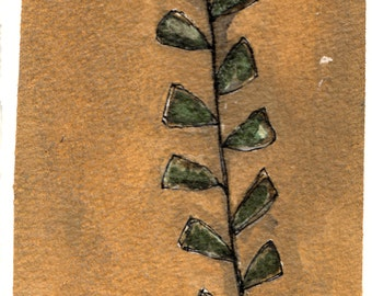 green vine nature study original 4x6 layered green vine plant twig branch on walnut background painting on watercolor paper in glass frame
