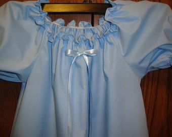 "Girls Blue Cotton Nightgown with option of Matching 18"" Doll Gowns"