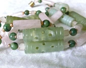 Rose Quartz and Jade Necklace and Bracelet Set