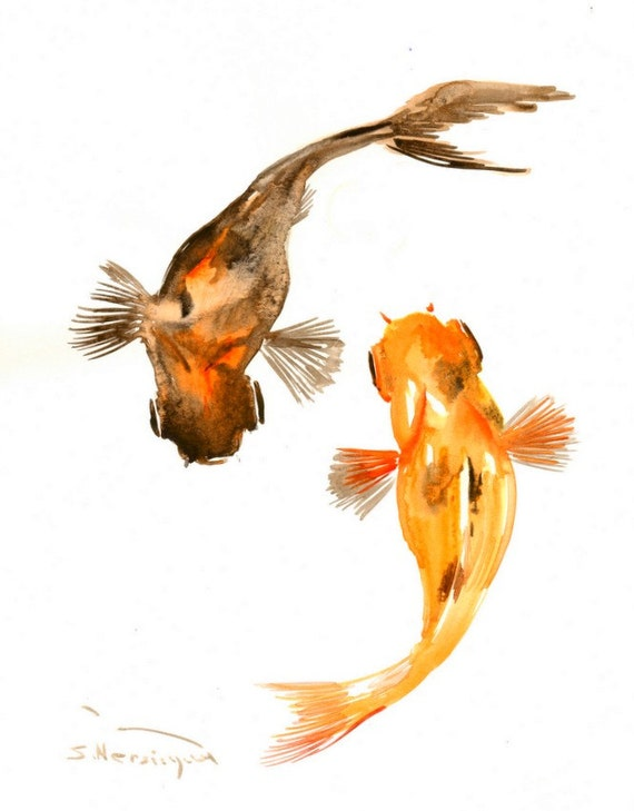 Two goldfish painting black and orange goldfish koi fish 14 for Orange coy fish