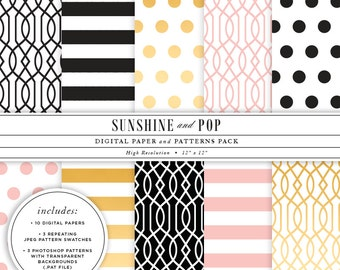 INSTANT DOWNLOAD - Gold Foil Black Pink Digital Papers and Patterns - Blog Backgrounds Includes .PAT files - Commercial Use Ok