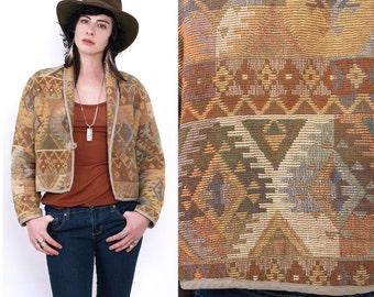 SALE 90's TRIBAL Southwestern Aztec Ethnic Indian Cropped Oversized Woven Cotton Blanket Jacket Vintage M