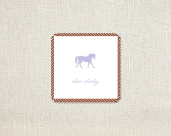 purple shilouette horse enclosure cards calling cards
