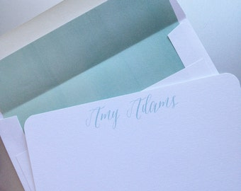 Personalized stationery flat notecards with mint ombre watercolor envelope liners