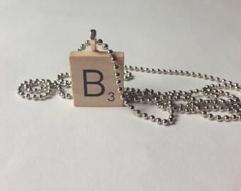 Scrabble Tile Alphabet Letter Necklace B
