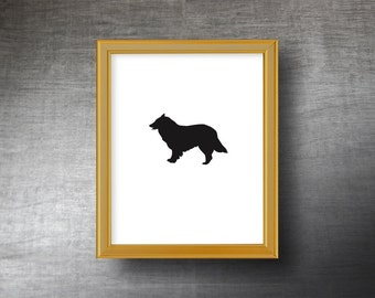 Border Collie Silhouette Art 8x10 - UNFRAMED Hand Cut Collie Print - Personalized Name or Text Optional