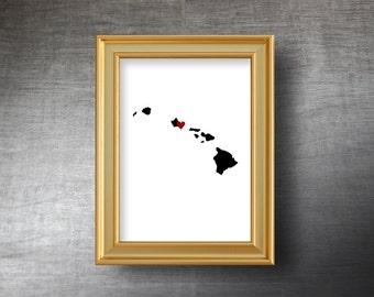 Hawaii Map Art 5x7 - UNFRAMED Hand Cut Silhouette - Hawaii Print - Hawaii Wedding - Personalized Name or Text Optional