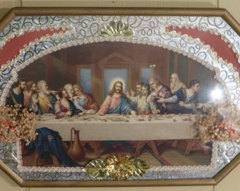 Vintage Last Supper Print with Convex Glass And A Hammered Metal Frame