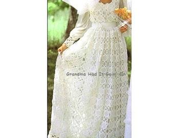 Crochet Wedding Dress - Bridal Gown - Wedding Pattern - 1970s Dress Gown - PDF Instant Download - Digital Pattern - Motif Squares Dress