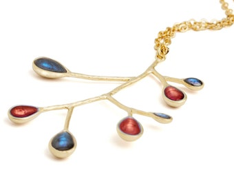 Xmas Gift Ideas,Blue Red Necklace,Blue Necklace,Branch Pendant,Gold Nature Jewelry,Multicolor Jewelry,Statement Pendant,Make Christmas Gifts