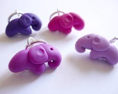 Elephant knitting stitch markers, sculpted polymer clay stitch markers, snagfree knitting, handmade elephant charms - UK seller