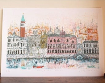 VENICE WATERCOLOR, Piazza San Marco, Doges Palace Art, Grand Canal Painting, Gondola Campanile, Limited Edition Giclee Print Clare Caulfield
