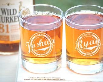 Personalized Wedding Whiskey Glasses, Groom Gift, Toasting Glasses, 9 Groomsmen Glasses, Custom Wedding Gift, Engraved Wedding Rocks Glasses