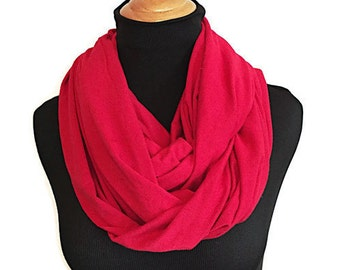 Red Scarf • Women's Nursing Scarves • Nursing Cover •  Breast-feeding cover • Infinity Scarf • Baby Shower Gift • BizyBelle