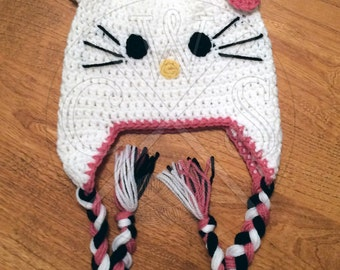 Hello Kitty Inspired Ear Flap Style Hat