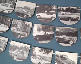 Vintage Car Bunting, British Car Garland, Motor Car Decoration, Black and White Bunting, British Car Book Bunting, Motor Car, Boys Decor