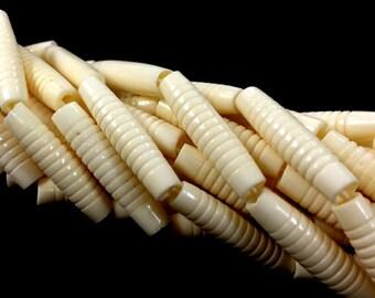 29 Pcs Bone Beads, Carved Hairpipe Ivory White Bone Spacer Beads, Natural Bone Bead Strd, Tribal Beads, Ethnic Beads, BULK Bone Beads - B10W