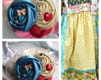 Rosette Fabric Flower Headband, Aqua Blue, Red, Green, Baby's Headband, M2M Serpendipity, Matilda Jane, Girls Headband, Newborn, Bows, Teal