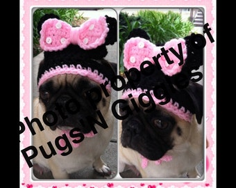 Pugs-Minnie Hat-Hats for Dogs-Novelty Dog Hat-Minnie Hat for Dogs-funny dog hats-pugs-dogs in hats