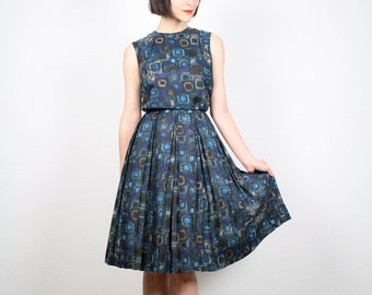 Vintage XS Dress Midi Dress Teal Blue Brown Atomic Print Dress 50s Dress 1950s Dress Pleated Skirt Day Dress Mad Men 1960s 60s Extra Small