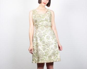 Vintage 60s Dress Champagne Gold Metallic Brocade Dress Ruffle Hem Mini Dress 1960s Dress Metal Zipper Mad Men Wiggle Sheath Dress M Medium
