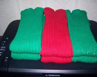 Knitted Red Leg Warmers, Valentines DayLegwarmers, St Patricks Day Legwarmers, Sleeves, Dance legwarmers, Boot Legwarmers, School Legwarmers