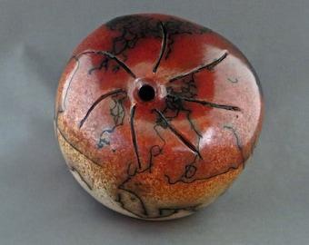 Ceramic red and tan horsehair raku seed pot