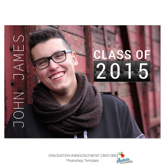 Graduation Announcement Card Photoshop Template 006