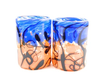 Hand Blown Glass Tumblers - Orange, Blue Color Black .  made by Jessica Flanagan  - High Ball - Barware - Set of Two Large beer glass