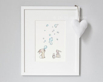 UNFRAMED Nursery Wall Art, Bunnies and Bubbles, Whimsical Rabbit Picture, Kid's Bedroom Art, PASTEL BLUE, New Baby, Children's Wall Art,