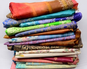 Wholesale Lot of 6 Pc Vintage Indian Art Silk Saree Sari Several to Select From  TPAS6