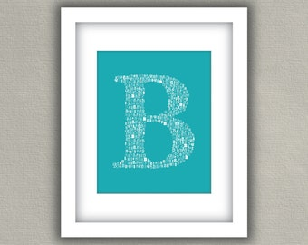 Nursery Monogram Art Print - Personalized Letter Decor - Turquoise