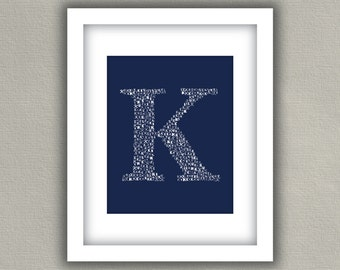 Family Monogram Print - Personalized Initial - Navy Blue
