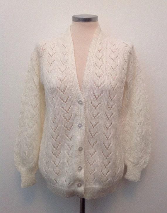 Vintage hand knit off white cardigan lacy knitting sweater summer cream handmade 70s 80s Mod