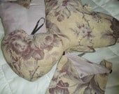 Set of 3 small cushions and bag. Lilac & Cream floral.   Hand sewn.   Filled cushions.