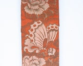 Japanese Obi Sash - Child's Obi - Kimono Belt - Vintage Maru Obi - Orange Butterflies Peonies - Textile Wall Hanging