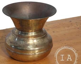Vintage Industrial Unmarked Brass Tobacco Cuspidor Spittoon