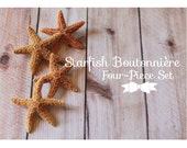 Starfish Boutonniere Set, Beach Wedding Pinbacks