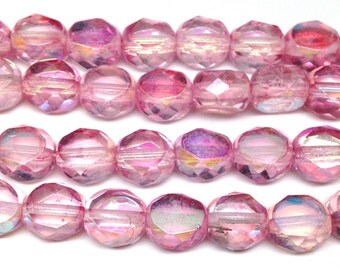 20 AB Pink Czech Coin Glass Beads 8mm