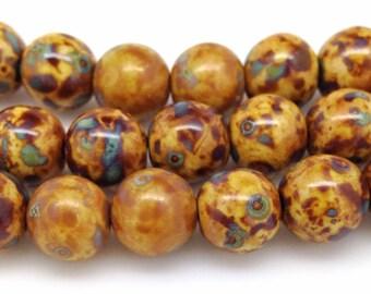 20 Golden Brown Picasso Czech Glass Beads Round 10mm